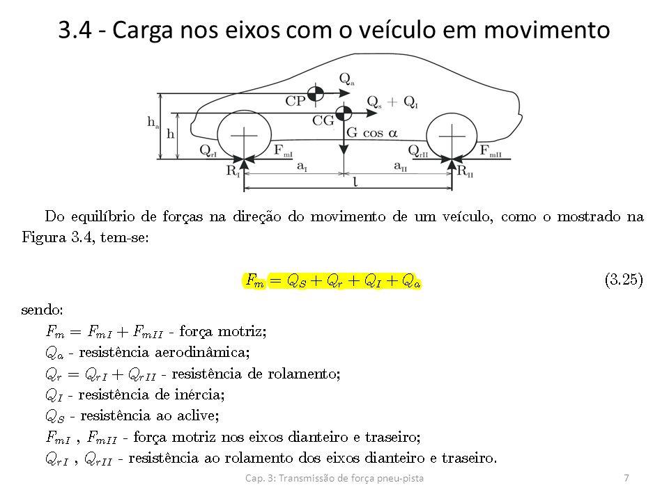 3.4 - Carga nos eixos com o veículo em movimento Cap. 3: Transmissão de força pneu-pista8