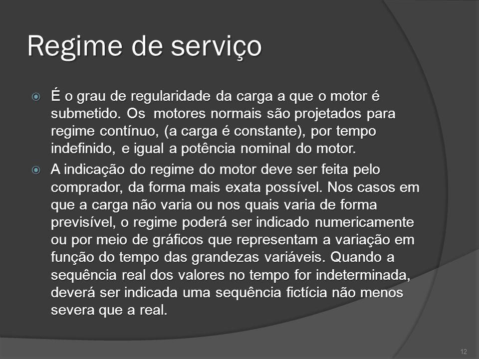 Regime de serviço É o grau de regularidade da carga a que o motor é submetido. Os motores normais são projetados para regime contínuo, (a carga é cons