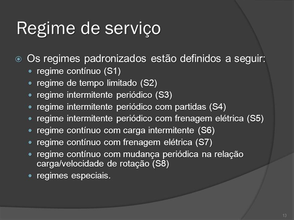 Regime de serviço Os regimes padronizados estão definidos a seguir: Os regimes padronizados estão definidos a seguir: regime contínuo (S1) regime cont