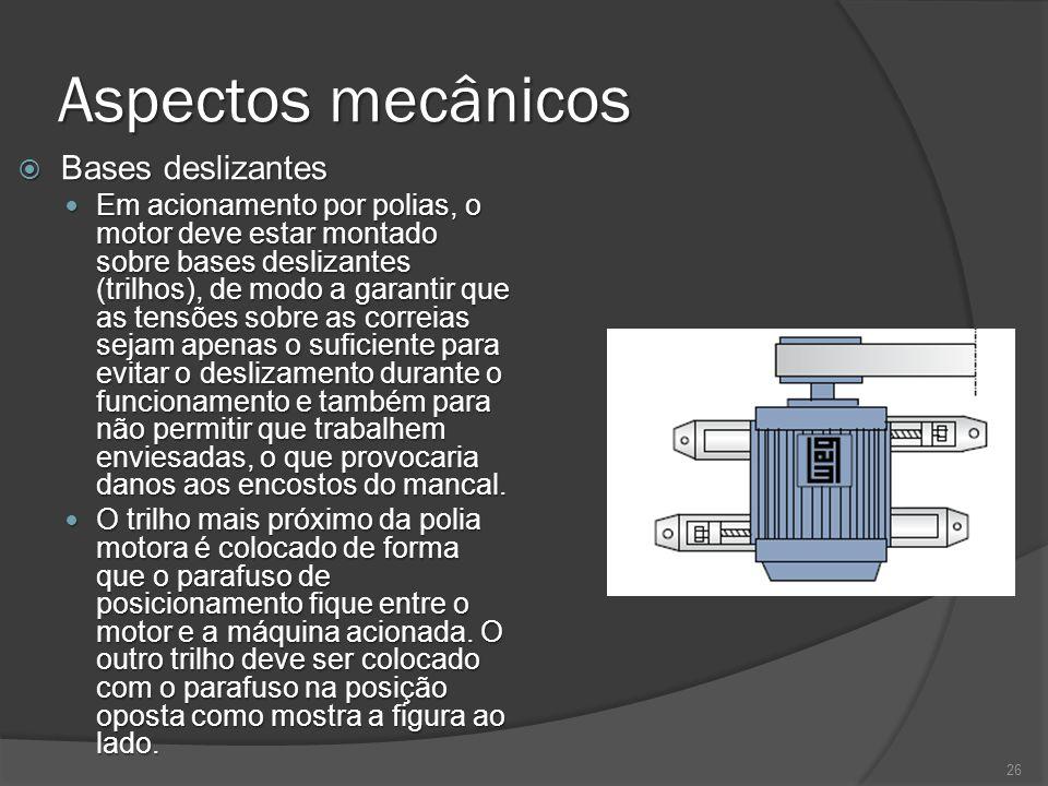 Aspectos mecânicos Bases deslizantes Bases deslizantes Em acionamento por polias, o motor deve estar montado sobre bases deslizantes (trilhos), de mod