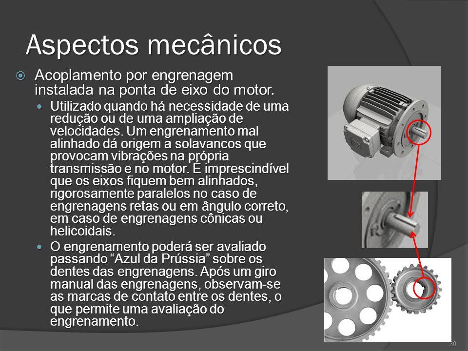 Aspectos mecânicos Acoplamento por engrenagem instalada na ponta de eixo do motor. Acoplamento por engrenagem instalada na ponta de eixo do motor. Uti