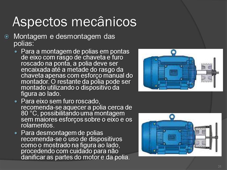 Aspectos mecânicos Montagem e desmontagem das polias: Montagem e desmontagem das polias: Para a montagem de polias em pontas de eixo com rasgo de chav