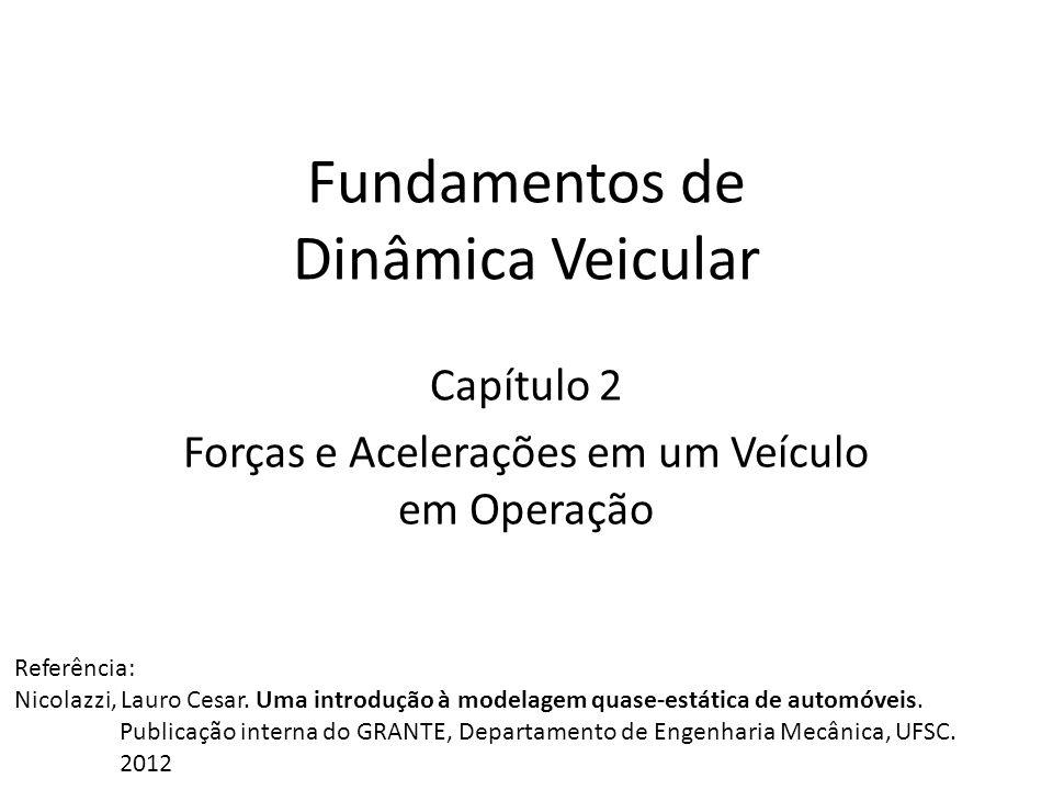 Fundamentos de Dinâmica Veicular Capítulo 2 Forças e Acelerações em um Veículo em Operação Referência: Nicolazzi, Lauro Cesar. Uma introdução à modela