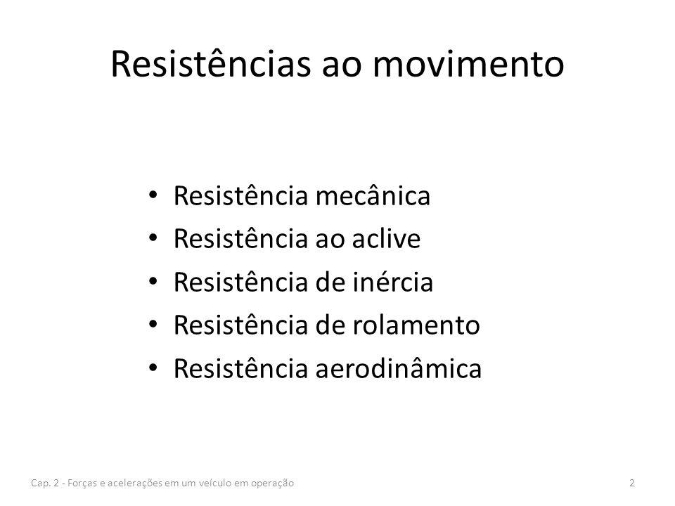 Resistências ao movimento Resistência mecânica Resistência ao aclive Resistência de inércia Resistência de rolamento Resistência aerodinâmica Cap. 2 -