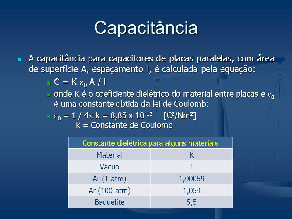 Capacitância A capacitância para capacitores de placas paralelas, com área de superfície A, espaçamento l, é calculada pela equação: A capacitância pa