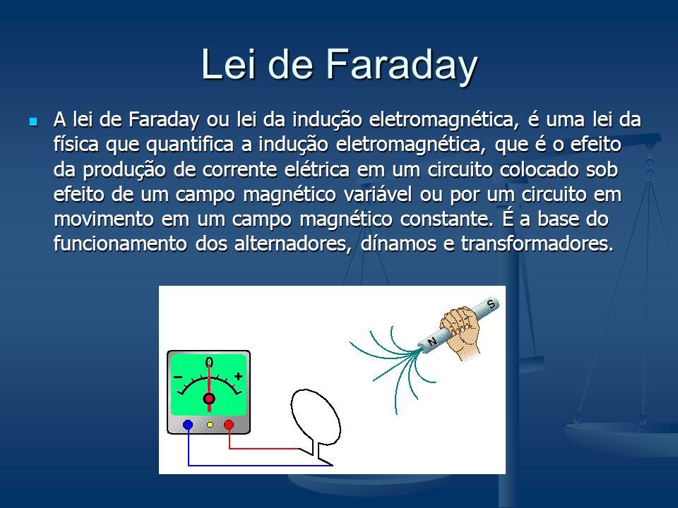 Lei de Faraday A lei de Faraday ou lei da indução eletromagnética, é uma lei da física que quantifica a indução eletromagnética, que é o efeito da pro
