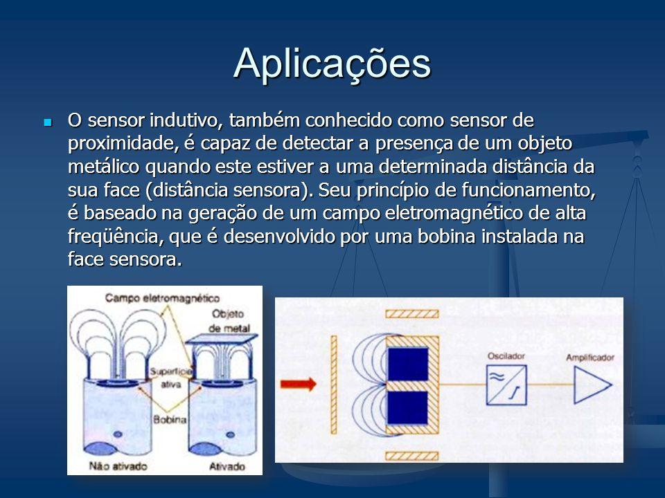 Aplicações O sensor indutivo, também conhecido como sensor de proximidade, é capaz de detectar a presença de um objeto metálico quando este estiver a