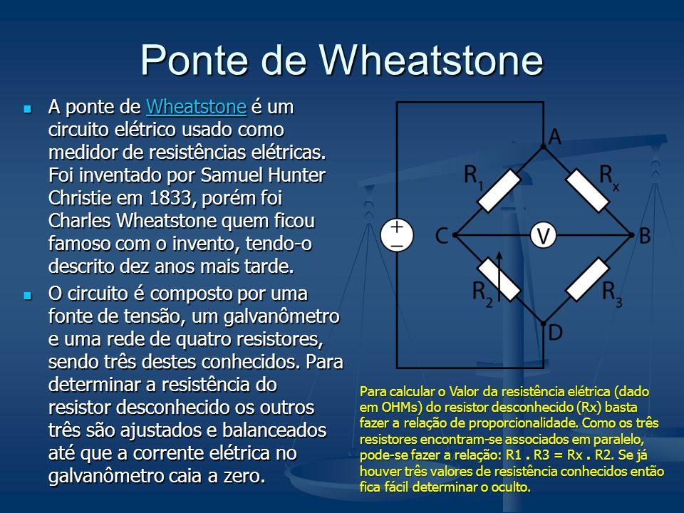 Ponte de Wheatstone A ponte de Wheatstone é um circuito elétrico usado como medidor de resistências elétricas. Foi inventado por Samuel Hunter Christi