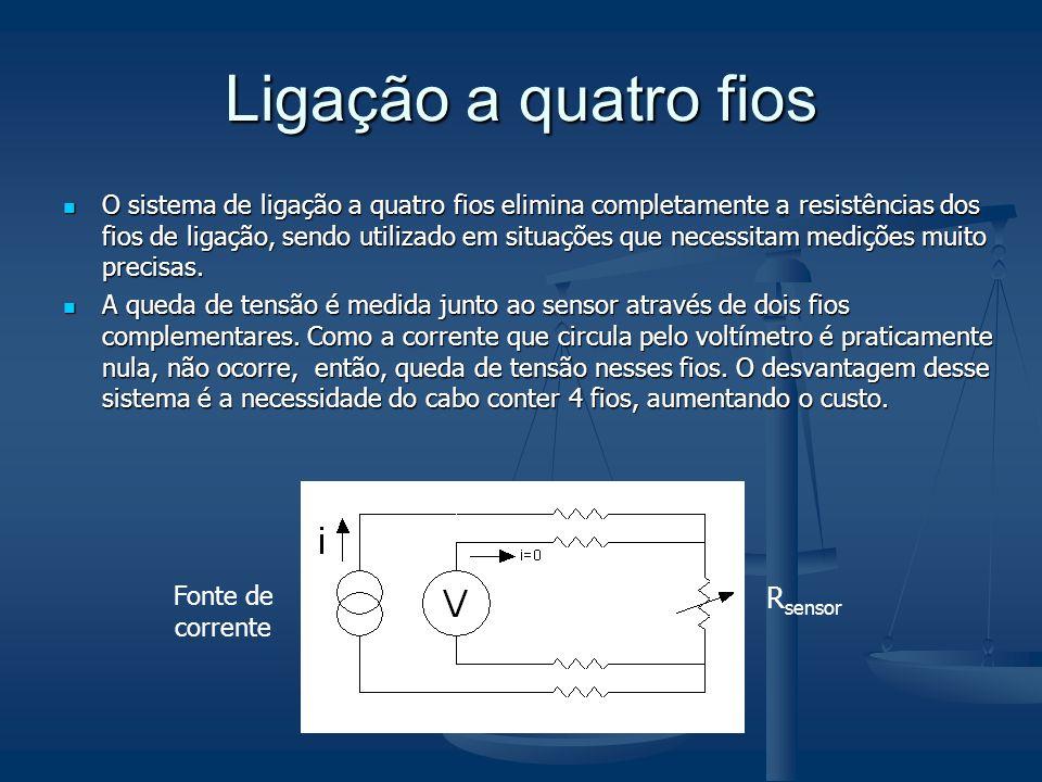 Ligação a quatro fios O sistema de ligação a quatro fios elimina completamente a resistências dos fios de ligação, sendo utilizado em situações que ne