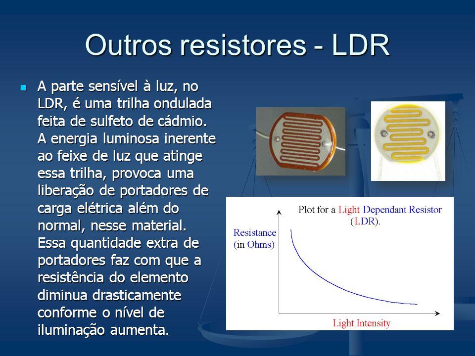 Outros resistores - LDR A parte sensível à luz, no LDR, é uma trilha ondulada feita de sulfeto de cádmio. A energia luminosa inerente ao feixe de luz