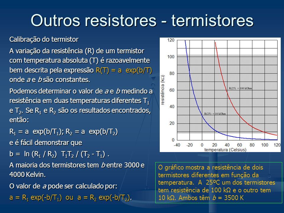 Outros resistores - termistores Calibração do termistor A variação da resistência (R) de um termistor com temperatura absoluta (T) é razoavelmente bem