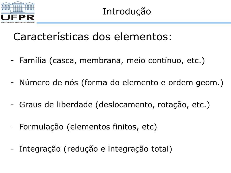 Introdução Cada elemento no ABAQUS/Explicit tem um nome único, relacionado a sua família e forma