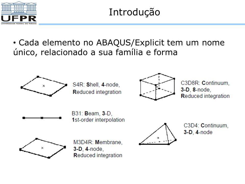Introdução Integração total O número de pontos de integração é suficiente para integrar exatamente a expressão da simulação, pelo menos para o comportamento linear do material Os elementos triangulares e tetraédricos utilizam integração total no ABAQUS
