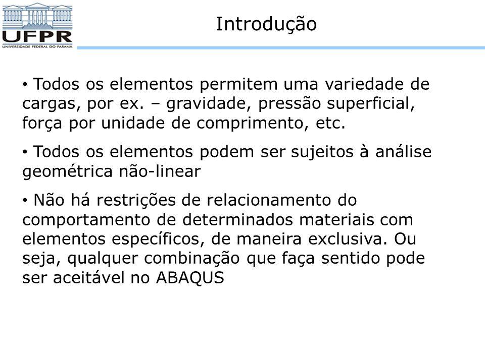 Elementos de casca e membranas O ABAQUS permite modificar o elemento de base da pilha de orientação.