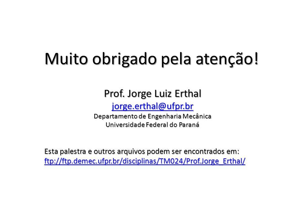 Muito obrigado pela atenção! Prof. Jorge Luiz Erthal jorge.erthal@ufpr.br Departamento de Engenharia Mecânica Universidade Federal do Paraná Esta pale