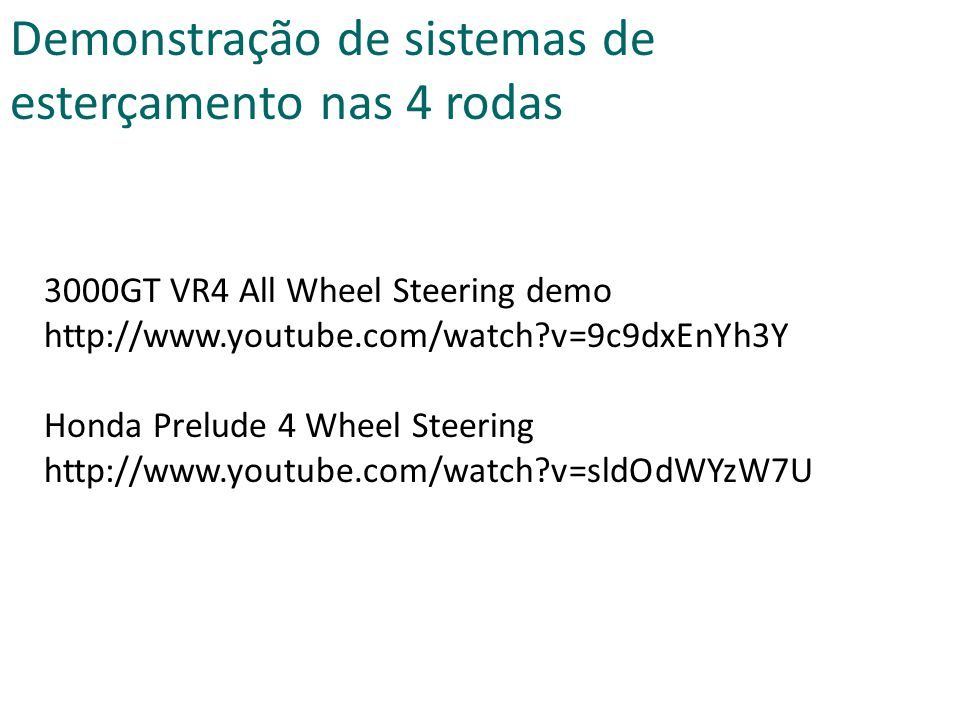 3000GT VR4 All Wheel Steering demo http://www.youtube.com/watch?v=9c9dxEnYh3Y Honda Prelude 4 Wheel Steering http://www.youtube.com/watch?v=sldOdWYzW7