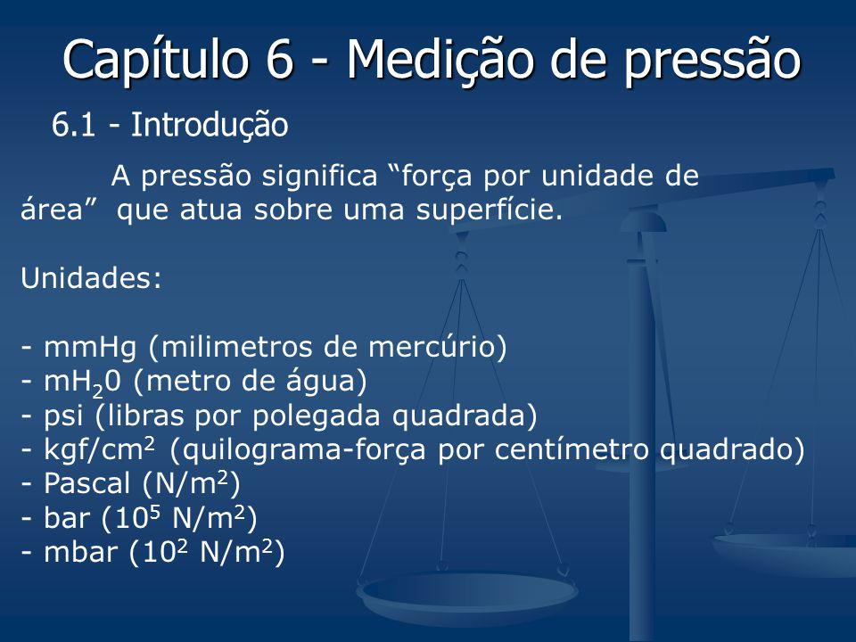 Capítulo 6 - Medição de pressão A pressão significa força por unidade de área que atua sobre uma superfície. Unidades: - mmHg (milimetros de mercúrio)