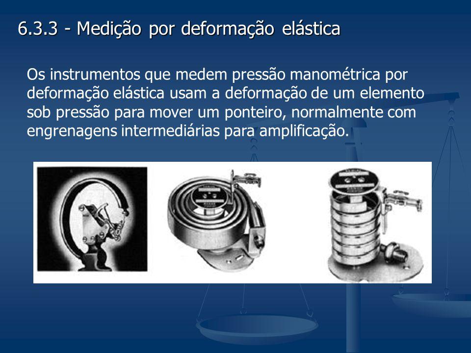 6.3.3 - Medição por deformação elástica Os instrumentos que medem pressão manométrica por deformação elástica usam a deformação de um elemento sob pre