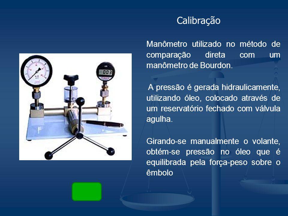 Manômetro utilizado no método de comparação direta com um manômetro de Bourdon. A pressão é gerada hidraulicamente, utilizando óleo, colocado através