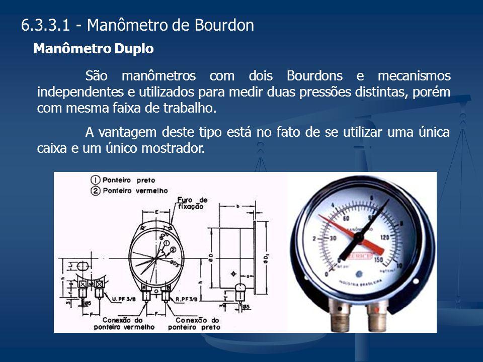 São manômetros com dois Bourdons e mecanismos independentes e utilizados para medir duas pressões distintas, porém com mesma faixa de trabalho. A vant
