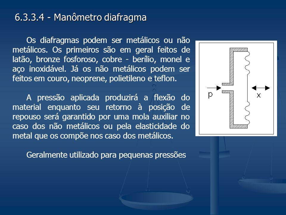 6.3.3.4 - Manômetro diafragma Os diafragmas podem ser metálicos ou não metálicos. Os primeiros são em geral feitos de latão, bronze fosforoso, cobre -