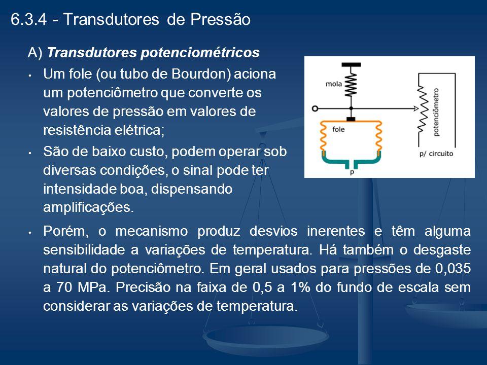 6.3.4 - Transdutores de Pressão A) Transdutores potenciométricos Um fole (ou tubo de Bourdon) aciona um potenciômetro que converte os valores de press