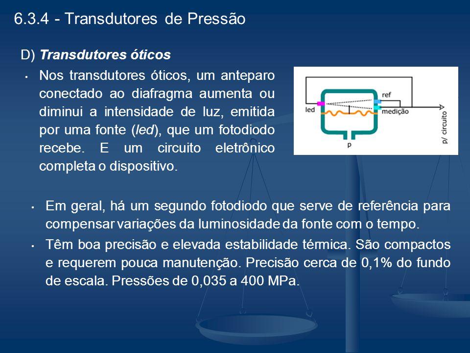 D) Transdutores óticos Nos transdutores óticos, um anteparo conectado ao diafragma aumenta ou diminui a intensidade de luz, emitida por uma fonte (led