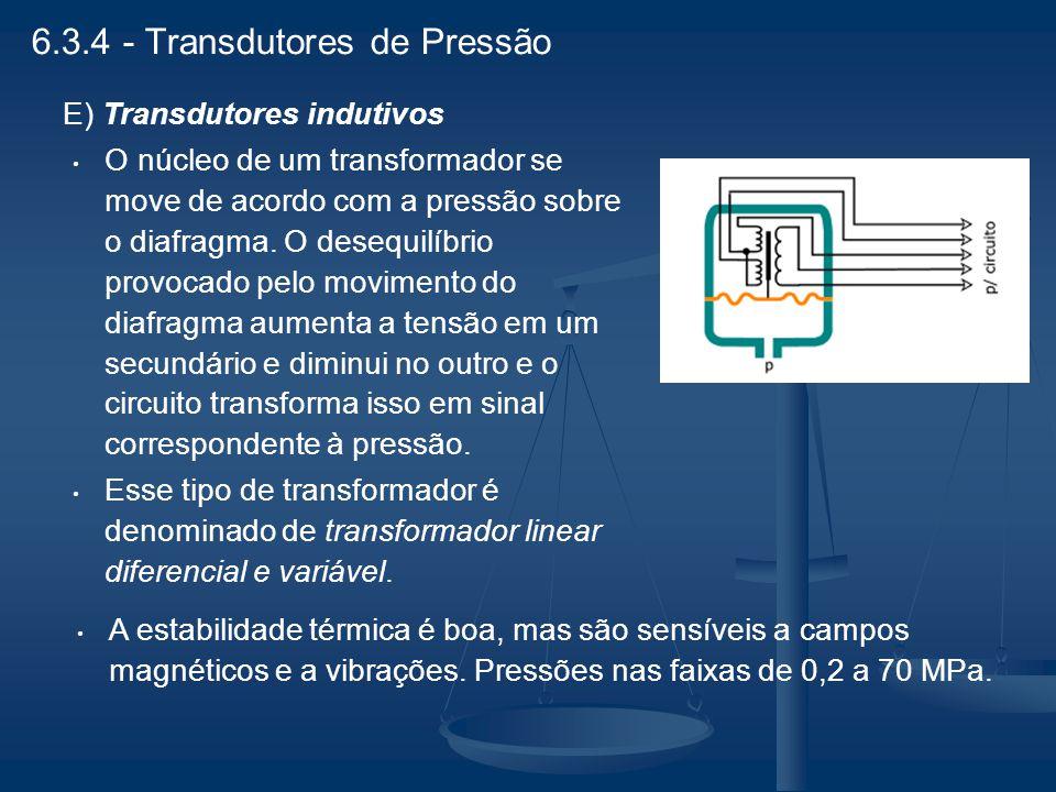 E) Transdutores indutivos O núcleo de um transformador se move de acordo com a pressão sobre o diafragma. O desequilíbrio provocado pelo movimento do