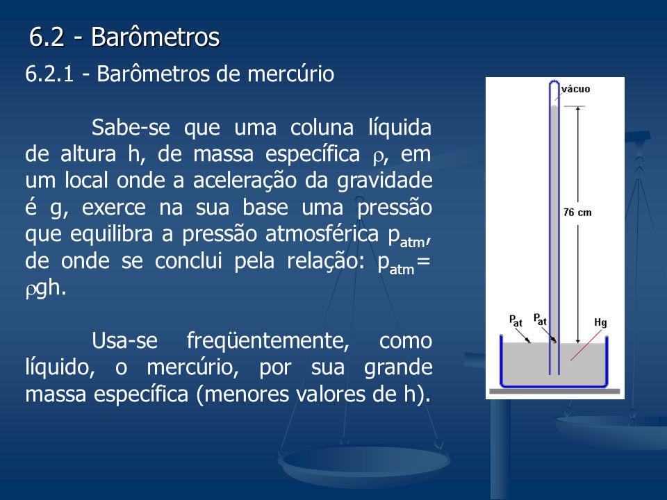 6.2 - Barômetros 6.2.1 - Barômetros de mercúrio Sabe-se que uma coluna líquida de altura h, de massa específica, em um local onde a aceleração da grav