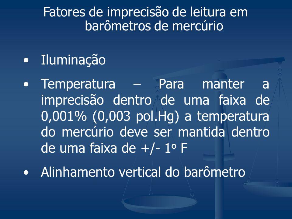Iluminação Temperatura – Para manter a imprecisão dentro de uma faixa de 0,001% (0,003 pol.Hg) a temperatura do mercúrio deve ser mantida dentro de um