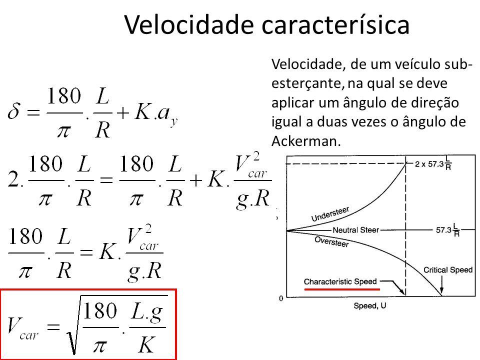 Velocidade caracterísica Velocidade, de um veículo sub- esterçante, na qual se deve aplicar um ângulo de direção igual a duas vezes o ângulo de Ackerm