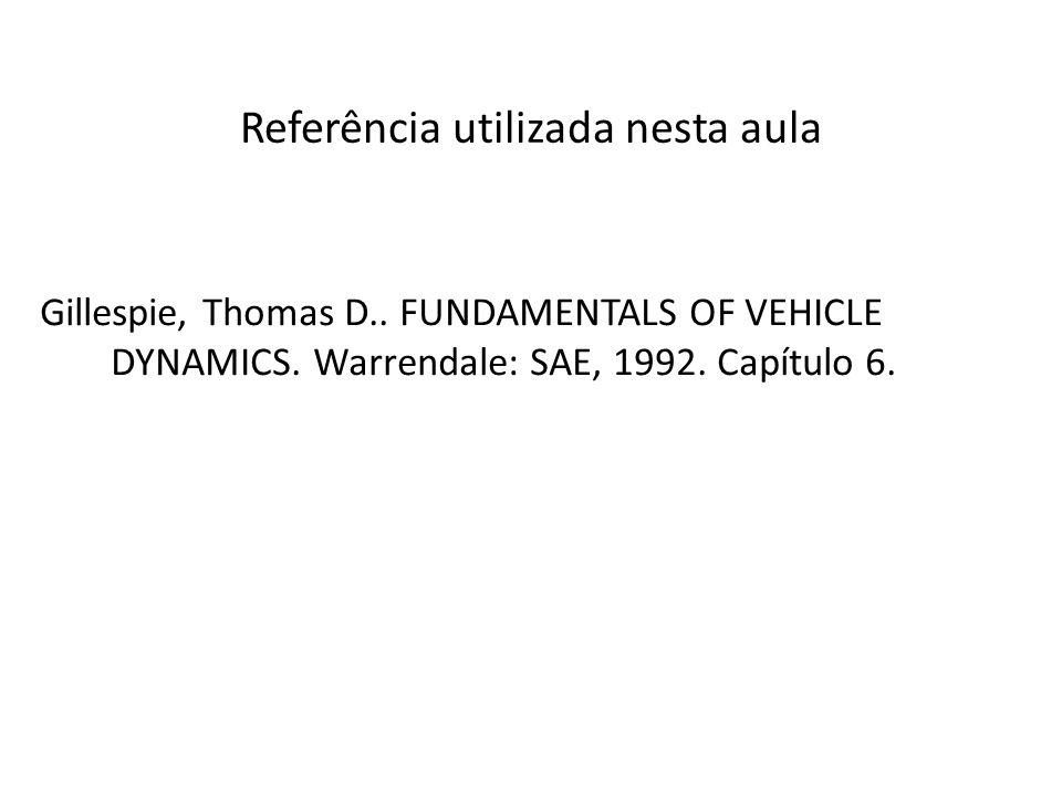 Referência utilizada nesta aula Gillespie, Thomas D.. FUNDAMENTALS OF VEHICLE DYNAMICS. Warrendale: SAE, 1992. Capítulo 6.