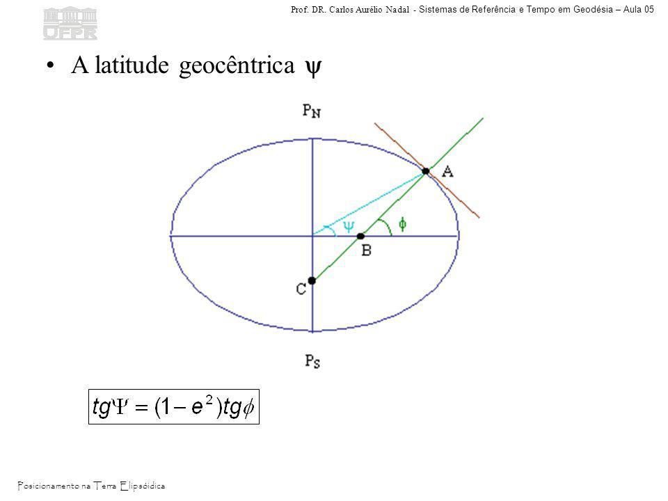 Prof. DR. Carlos Aurélio Nadal - Sistemas de Referência e Tempo em Geodésia – Aula 05 Posicionamento na Terra Elipsóidica A latitude geocêntrica