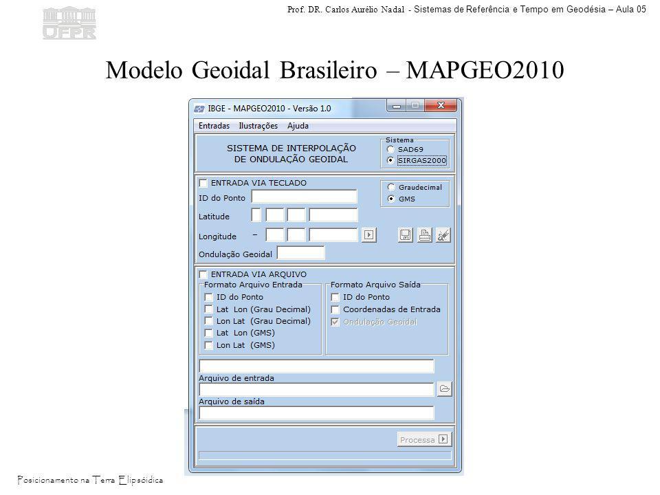Prof. DR. Carlos Aurélio Nadal - Sistemas de Referência e Tempo em Geodésia – Aula 05 Posicionamento na Terra Elipsóidica Modelo Geoidal Brasileiro –