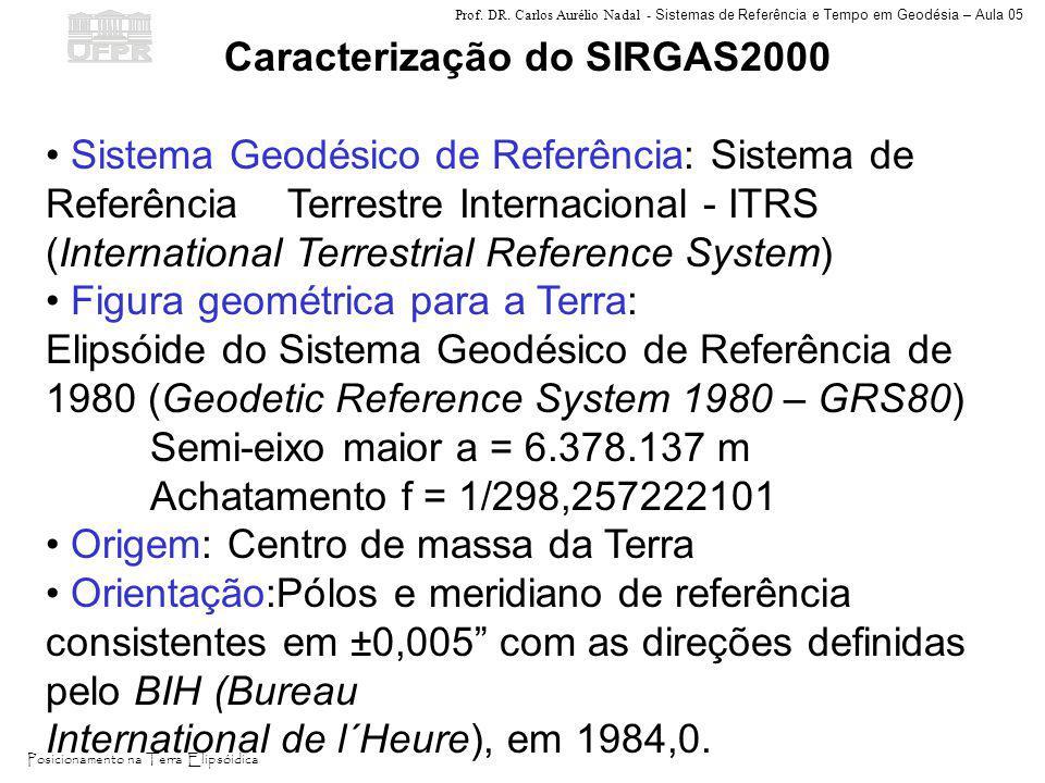 Prof. DR. Carlos Aurélio Nadal - Sistemas de Referência e Tempo em Geodésia – Aula 05 Posicionamento na Terra Elipsóidica Caracterização do SIRGAS2000
