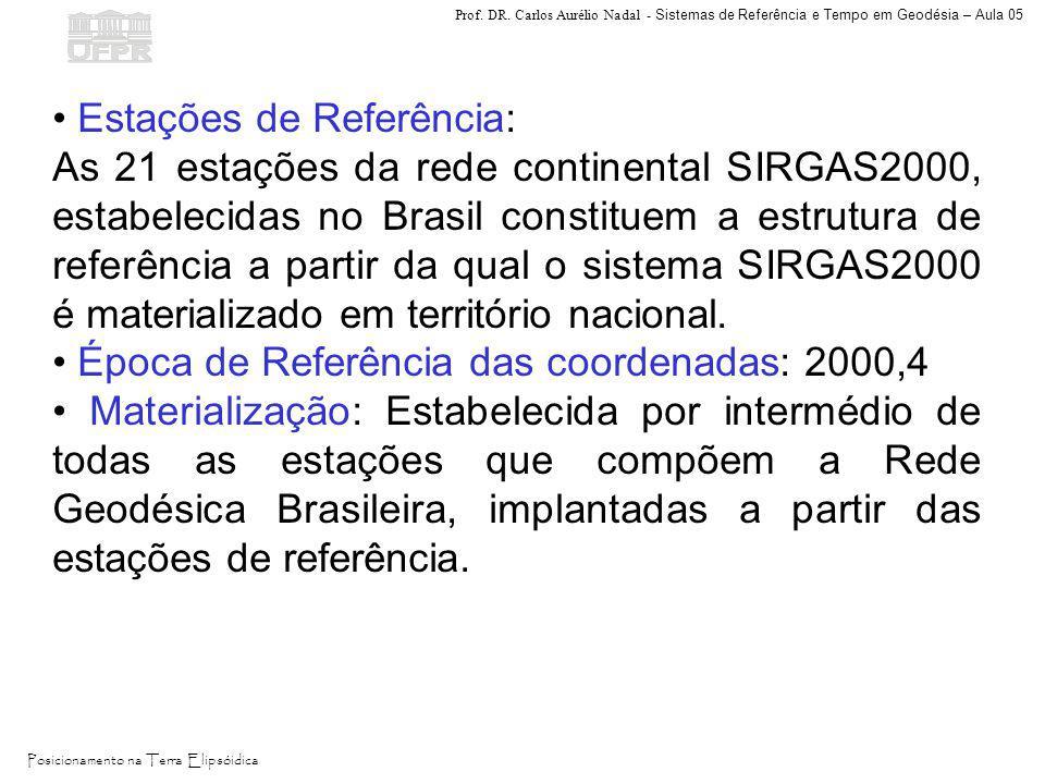 Prof. DR. Carlos Aurélio Nadal - Sistemas de Referência e Tempo em Geodésia – Aula 05 Posicionamento na Terra Elipsóidica Estações de Referência: As 2