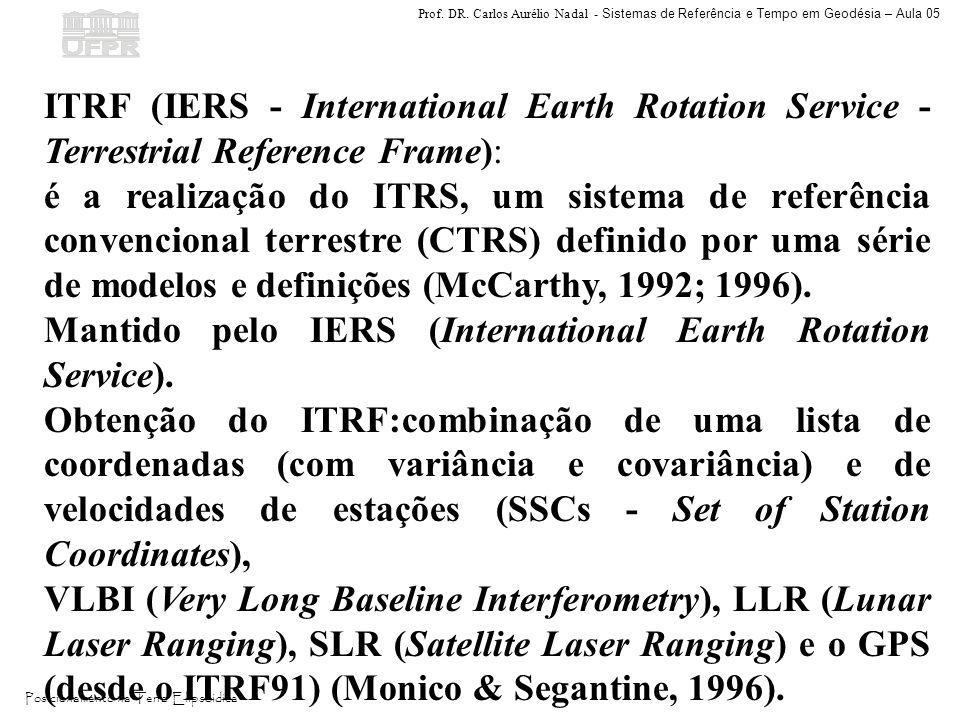Prof. DR. Carlos Aurélio Nadal - Sistemas de Referência e Tempo em Geodésia – Aula 05 Posicionamento na Terra Elipsóidica ITRF (IERS - International E