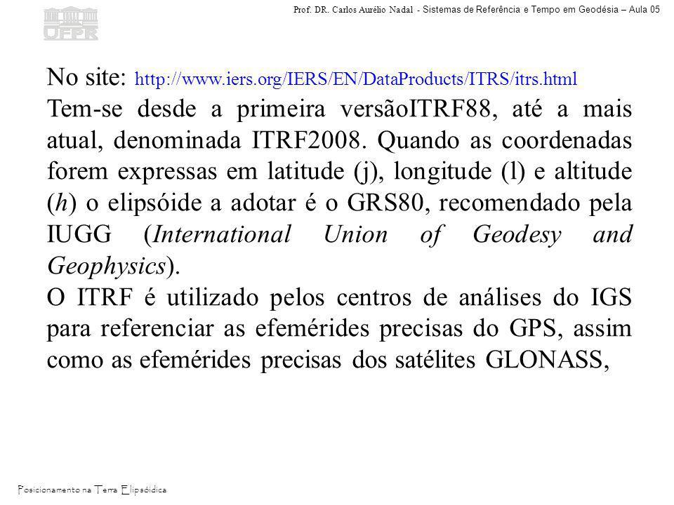 Prof. DR. Carlos Aurélio Nadal - Sistemas de Referência e Tempo em Geodésia – Aula 05 Posicionamento na Terra Elipsóidica No site: http://www.iers.org
