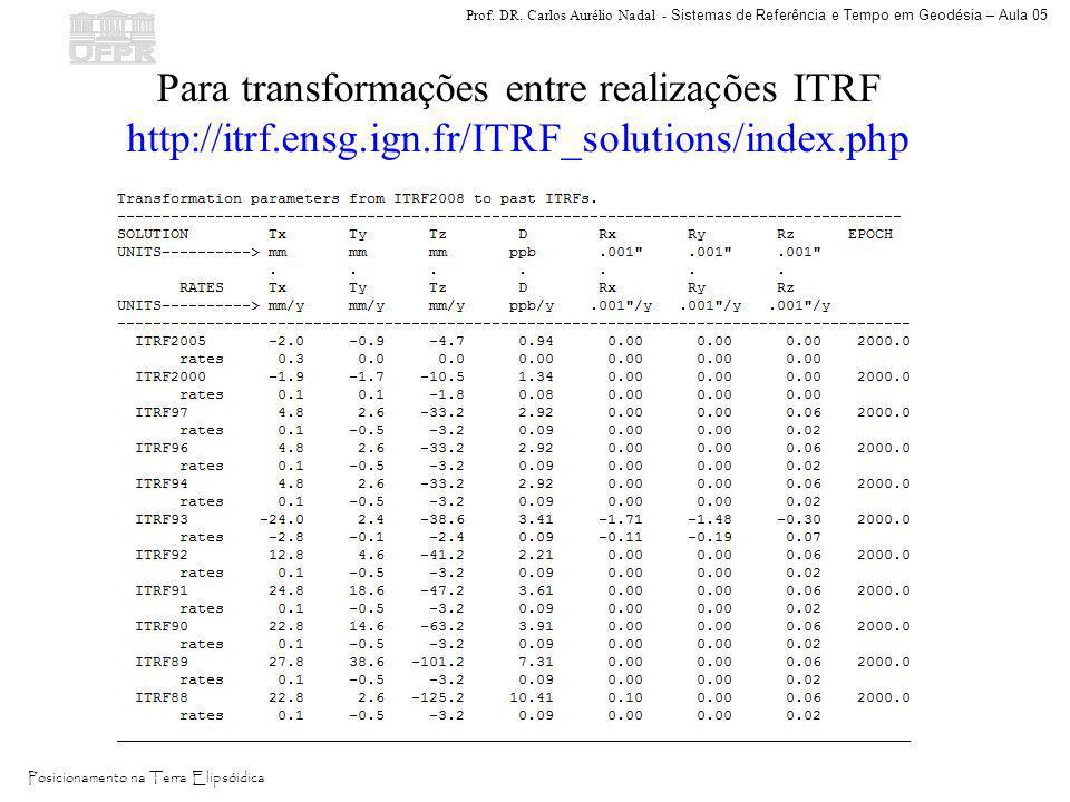 Prof. DR. Carlos Aurélio Nadal - Sistemas de Referência e Tempo em Geodésia – Aula 05 Posicionamento na Terra Elipsóidica Para transformações entre re
