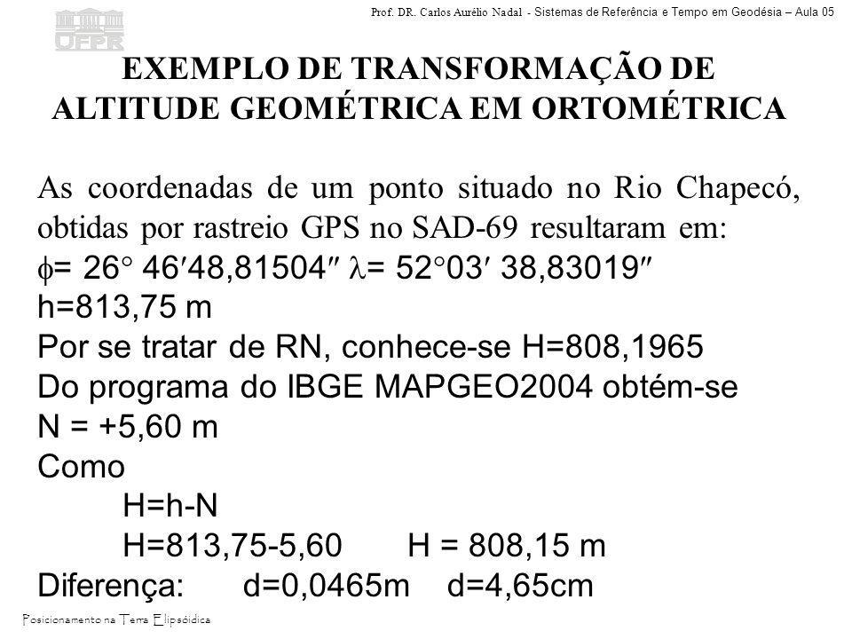 Prof. DR. Carlos Aurélio Nadal - Sistemas de Referência e Tempo em Geodésia – Aula 05 Posicionamento na Terra Elipsóidica EXEMPLO DE TRANSFORMAÇÃO DE