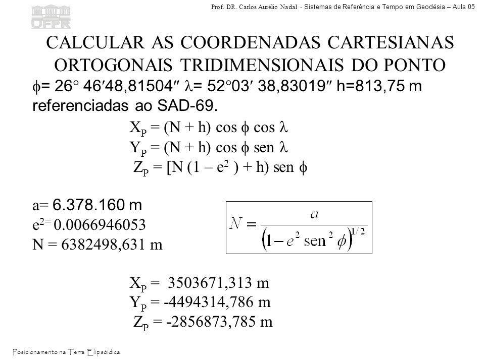 Prof. DR. Carlos Aurélio Nadal - Sistemas de Referência e Tempo em Geodésia – Aula 05 Posicionamento na Terra Elipsóidica CALCULAR AS COORDENADAS CART