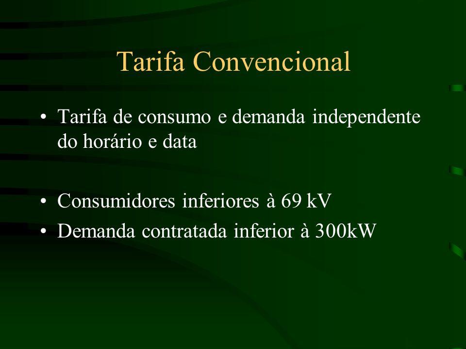 Tarifa Convencional Tarifa de consumo e demanda independente do horário e data Consumidores inferiores à 69 kV Demanda contratada inferior à 300kW