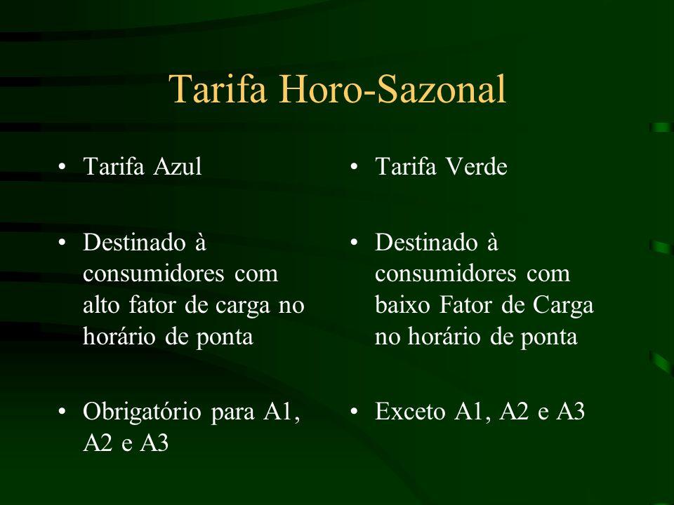 Tarifa Horo-Sazonal Tarifa Azul Destinado à consumidores com alto fator de carga no horário de ponta Obrigatório para A1, A2 e A3 Tarifa Verde Destinado à consumidores com baixo Fator de Carga no horário de ponta Exceto A1, A2 e A3