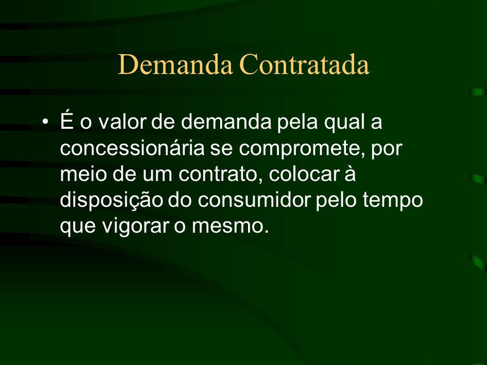 Demanda Contratada É o valor de demanda pela qual a concessionária se compromete, por meio de um contrato, colocar à disposição do consumidor pelo tempo que vigorar o mesmo.