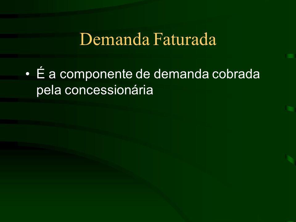 Demanda Faturada É a componente de demanda cobrada pela concessionária