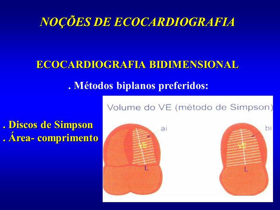 NOÇÕES DE ECOCARDIOGRAFIA. Métodos biplanos preferidos:. Discos de Simpson. Área- comprimento ECOCARDIOGRAFIA BIDIMENSIONAL
