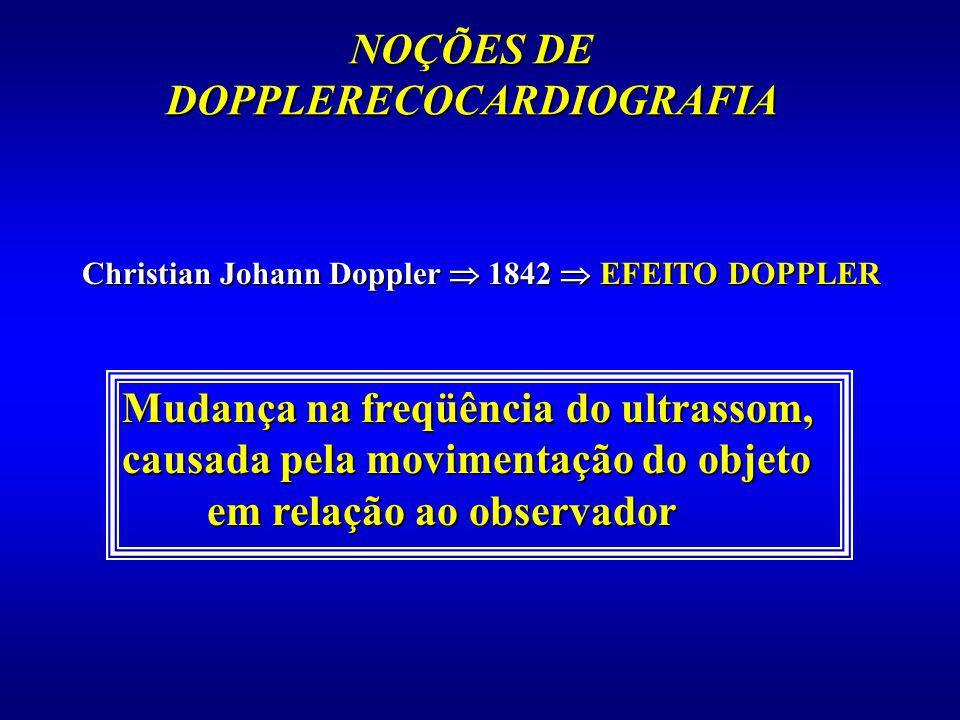NOÇÕES DE DOPPLERECOCARDIOGRAFIA Christian Johann Doppler 1842 EFEITO DOPPLER Mudança na freqüência do ultrassom, causada pela movimentação do objeto