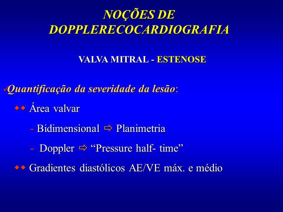 NOÇÕES DE DOPPLERECOCARDIOGRAFIA VALVA MITRAL - ESTENOSE Quantificação da severidade da lesão: Quantificação da severidade da lesão: Área valvar Área