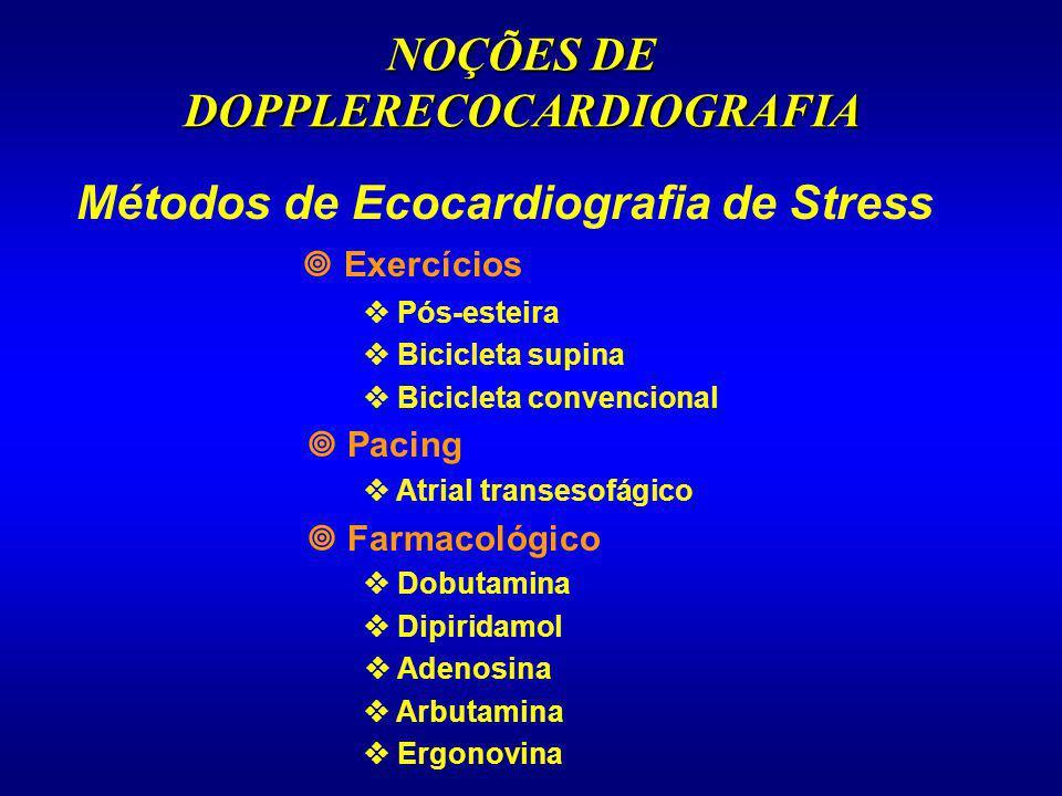 NOÇÕES DE DOPPLERECOCARDIOGRAFIA Métodos de Ecocardiografia de Stress Exercícios Pós-esteira Bicicleta supina Bicicleta convencional Pacing Atrial tra