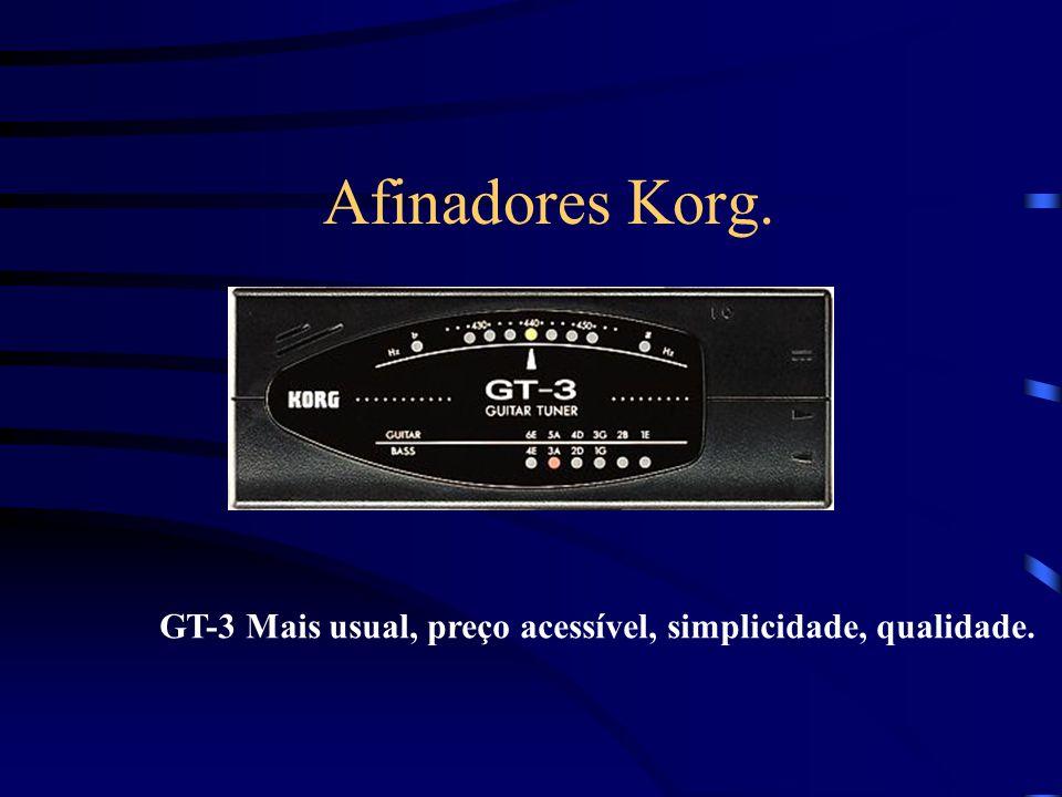 Afinadores Korg. GT-3 Mais usual, preço acessível, simplicidade, qualidade.